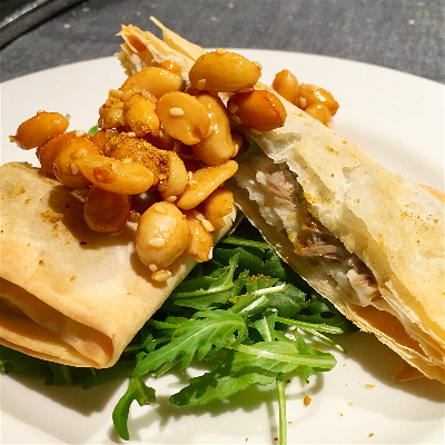Bass in filo pastry with candied peanuts