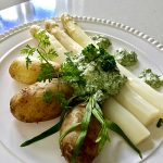 White Asparagus with Green Sauce and New Potatoes