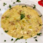 German Leek and Cheese Soup with Ground Meat