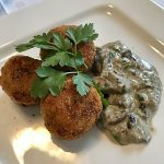 Scrambled Egg Croquettes with Mushroom Sauce